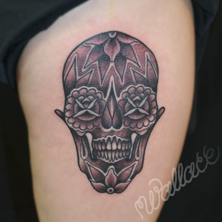 Candy Skull Black & Gray Tattoo