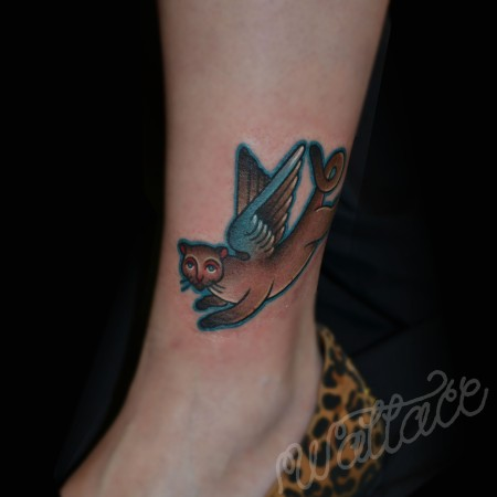 Flying Cat Ray Wallace Sideshow Tattoo