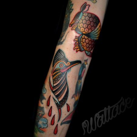 Armadillo Roadrunner Tattoo