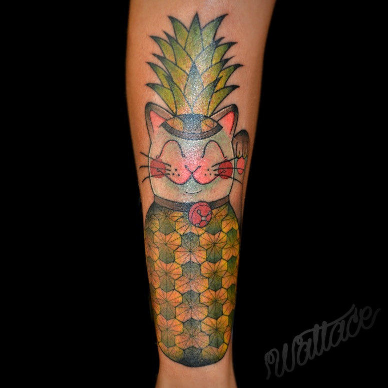 Pineapple Cat Tattoo