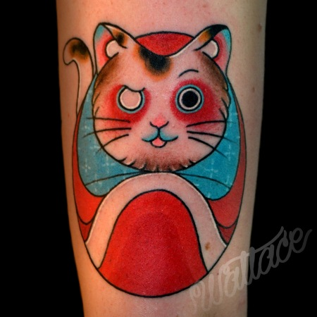 z Daruma Cat Tattoo